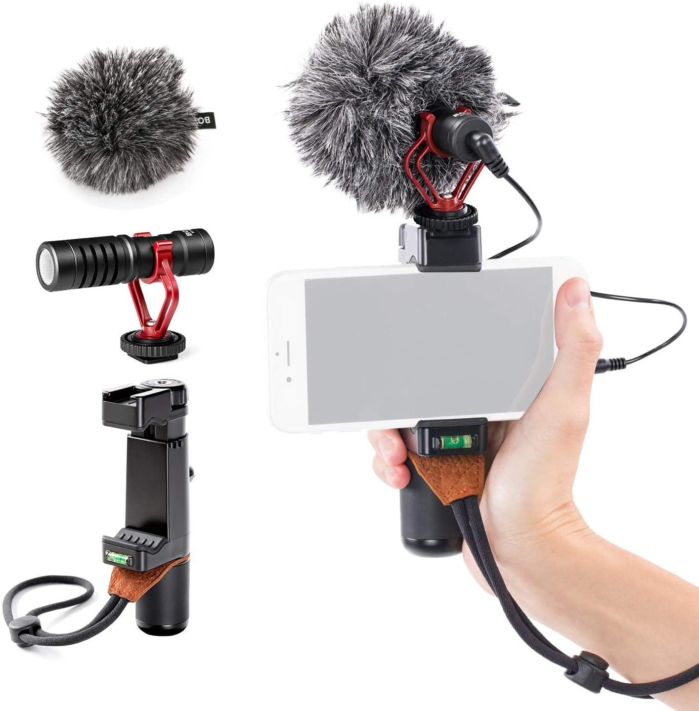 BOYA by-MM1 Shotgun Microphone with SK-PSC1 SmartGrip for Smart Phones+L._AC_SL1500_